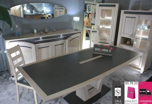 Table tonneau pied central avec plateau et allonge centrale papillon de 60cm céramique grise