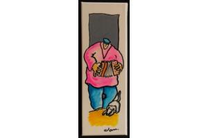 Toile marine Titouan et son accordéon