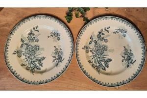 2 anciennes assiettes, terre et fer, Sté amandinoise