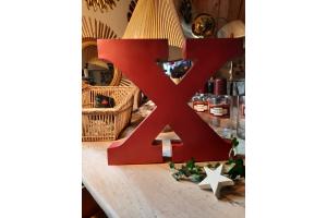 Grande lettre  X en metal rouge, 32 cm