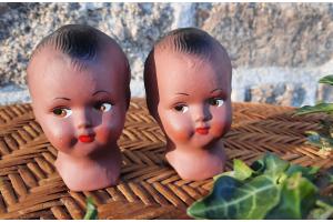 2 anciennes têtes de poupées