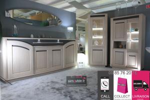 Enfilade 4 portes 1 tiroir avec éclairage Leds et incrustation céramique en façade